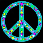 Peace Symbol Midnight Bluejade Stars