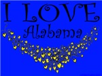 I Love Alabama Golden Hearts