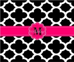 Monogram black white quatrefoil pattern