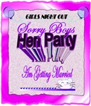 hen party sorry boys getting married art illustrat
