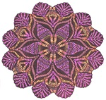 Pink and black flowery Lace Doily Design