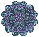 Blue stain glass and lace inspired flower design