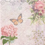 Vintage Pink flowers and butterfly