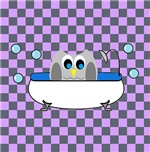 Owl In Tub (Purple Checks)