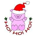Cartoon Pig Santa