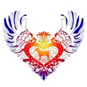 Labrador Retriever Rainbow Winged Heart