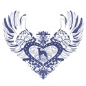 Greyhound Blue Winged Heart