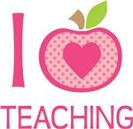 Cute I Love Teaching Apple Design Tees