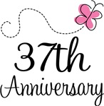 37th Anniversary Pink Butterfly Keepsake Gifts