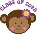Class Of 2028 Girl Monkey Tshirts