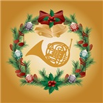 French Horn Christmas Music Gifts and Apparel