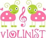 Violin Music Pink Ladybug T-shirts