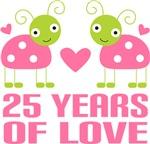 25th Anniversary Gift Pink Ladybug T-shirts