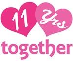 11th Anniversary Hearts Gift T-shirts
