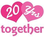 20th Anniversary Hearts Gift T-shirts