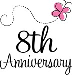 8th Anniversary Pink Butterfly Keepsake Gifts