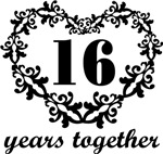 16th Anniversary Heart Gifts Together