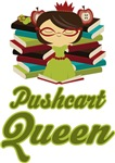 Librarian Pushcart Book Queen T-shirts