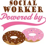 Social Worker Powered By Doughnuts Gift T-shirts
