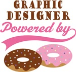 Graphic Designer Powered By Donuts Gift T-shirts