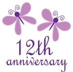 12th Anniversary Gift Purple Butterfly