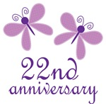 22nd Anniversary Gift Purple Butterfly