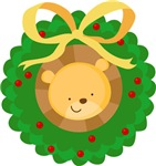 Cute Merry Christmas Lion Wreath T-shirts and Gift