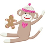Sock Monkey with Gingerbread Cookie Kids T-shirts