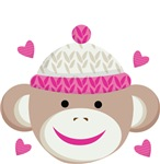 Sock Monkey with Pink Hearts Kids Apparel