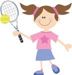 Girls Tennis Cartoon T-shirts
