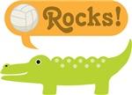 Volleyball Rocks Crocodile Kids Tee Shirts