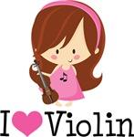 Cute I Heart Violin Girls Tshirt Gifts