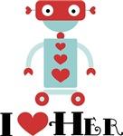 Robot I Heart Her Valentine Mens Shirts