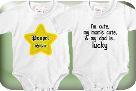 Funny Baby Onesie Bodysuits, Bibs, Tees, & Gifts