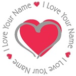 I Love Red Heart Personalized T-shirts Gifts