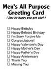Men's Greeting Card
