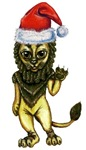The Cowardly Lion of Oz is wearing Santa's Hat and is wishing you a very Merry Christmas.  This wonderful Wizard of Oz anime character will bring holiday cheer to everyone who is an Oz fan.