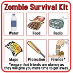 Important things to have on hand in your Zombie Survival Kit are water, food, a radio, maps, Protection (a cricket bat in this case straight out of Shaun of the Dead) and of course Friends.  This is a great gift for those people who fear a zombie outbreak