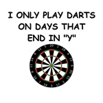 a funny darts joke on gifts and t-shirts.