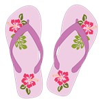 Purple Hibiscus Flower Flip Flops