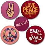 Peace Buttons ~ Mini peace buttons also know as peace badges and peace pins. Every design available on a single button and in discount packs of 10 and 100. Be a peace activist spread anti-war propaganda.