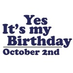 October 2nd Birthday T-Shirts & Gifts