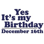 December 16th Birthday T-Shirts & Gifts