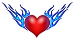 Heart With Blue Flames