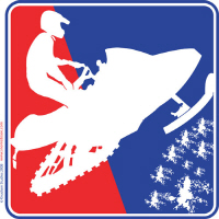 Red White and Blue Snowmobile