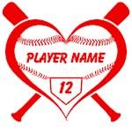 Baseball Heart Personalized Player