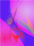 Blue and Pink Abstract Print Art