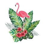 Pink Flamingo Tropical Floral