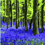 Blue Floral Undergrowth &  Trees