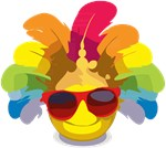 Cool Smiley Sunglasses Feathers